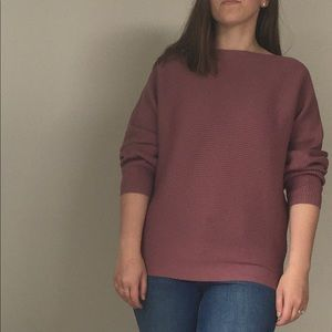 VINCE CAMUTO PINK MAUVE RIBBED BOATNECK SWEATER XS